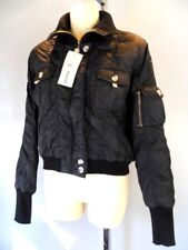 Nos Black Bomber Pilot Flight Jacket Coat Vegan Working Class  Punk Winter S