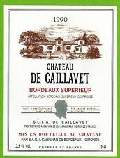 Ancienne Etiquette de Vin-Bordeaux-(1990)-Château de Caillavet-N°458