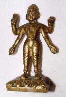 Ancien Indien Laiton Hindou Divinité Statue Figurine 9 cm Haut