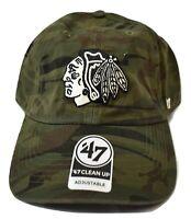'47 Brand Mens NHL Chicago Blackhawks '47 Clean Up Camo Strapback Hat Cap New
