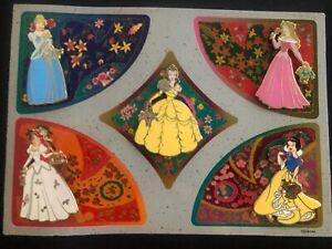 Disney Princess Garden Card Set Of 5 Pin LE 2007 Ariel Belle Aurora