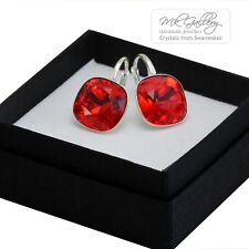 925 SILVER EARRINGS CRYSTALS FROM SWAROVSKI® 10/12MM FANCY STONE -LIGHT SIAM RED
