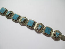 """Vintage Antique Silver Turquoise  Made in Mexico Bracelet 7 1/4"""" 41.4gr"""