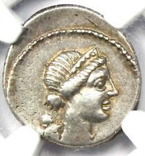 Julius Caesar AR Denarius Silver Venus / Cupid Gauls Coin 46 BC -  NGC Choice VF