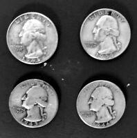 1943 1946 1959 1963  George Washington 90% Silver 25 cents Quarter