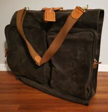 Bric's Deluxe Garment Bag Italian Pebbled Microsuede Genuine Leather Gold Accent
