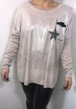 Stars Tunic Top Latte Sparkly Metallic Stretchy Soft Long Oversized One Size NEW