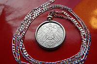 "GERMAN 1900-1915 RARE MARK SILVER COINAGE PENDANT 28"" 925 Sterling Silver Chain"