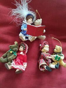 "bears Christmas Ornaments ,3"" Little girls with Bears A Christmas event vinyl"