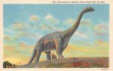 New listing Brontosaurus, Dinosaur Park, Rapid City Sd, Linen Postcard