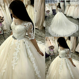 Lace Wedding Dresses Half Sleeves Tulle Appliques Beaded Sash Bridal Ball Gown