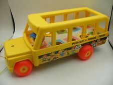 Vintage 1965 Fisher Price little people Play Family Bus Scolaire School