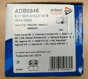 Allied Nippon Rear Brake Pads Set for Ford,Saab,Mazda,Vauxhall,Volvo (ADB0946 )