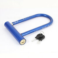 Waterproof Blue Plastic Coated Bicycle Motorcycle Security Alloy U Lock