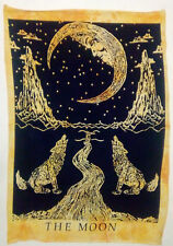Yellow Crying Wolf Moon Indian Wall Hanging Tapestry Hippie Mandala Poster Decor