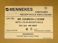 MENNEKES ME 32AMS2A L1630W 480V 30 Amp Switched L16-30 Receptacle + Enclosure