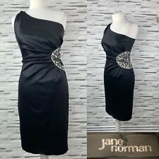 Jane Norman Black Shift Satin One Shoulder Embellished Dress Size 10 Party Xmas