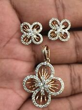 Pave 1.60 Cts Round Brilliant Cut Diamonds Pendant Earrings Set In 14K Rose Gold