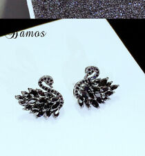 Fashion Jewelry Black Sapphire Swan Stud Earring 18K Black Gold Women Party Gift