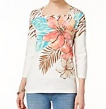 Alfred Dunner shirt size Small S.  White Brown Zebra print w/Orange Flowers