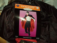 Halloween Costume Reversible Tafetta Vampire Black & Red Cape Adult Size
