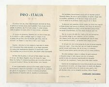cartoncino pro patria in dialetto milanese 11 10 1919 opera di corrado colombo