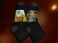 Black BURLINGTON Comfort Men Athletic Socks 10 Pair Quarter Top Thick 77% Cotton