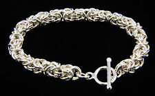 Byzantine Bracelet Handmade Chain Maille 7.75 Inch 925 Sterling Silver Chainmail