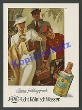 O. de couleur publicité Otto ottler 4711 dame voyage chasseur élégance ART DECO Cologne 1939