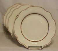 Grace Teaware Red Line with Gold Dots Porcelain Salad Plates Set of Four New