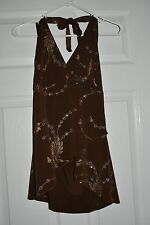 IZ Byer California Junior Halter Brown Floral Glitter Top Large L NWT