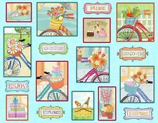 Fabric Henry Glass Enjoy The Journey Multi Patch Bicycle Panel FREE QUILT PATN