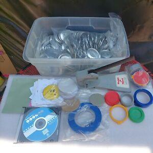 "Badge-A-Minit 2 1/4"" Button Maker W/ Bench Press, Circle Cutter Ring Sets DVD"