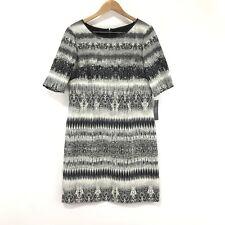 Tahari Dress 14 ASL New Shift Knee Modest Career Office Wear Zipper Printed Line