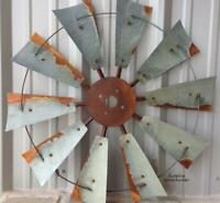 "Rusted Windmill Wall Decor 30"" Metal Fan Blades Cowboy Western Countryside Style"