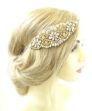 Silver Gold Ivory Pearl Headpiece Bead Vintage Headband 1920s Bridal Flapper 938