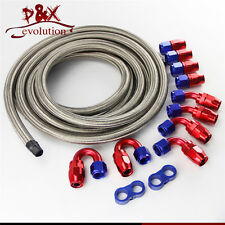 AN10 Stainless Steel Braided Oil/Fuel Line/Hose+Fitting/Hose End/Adaptor Kit SL