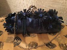 Azul Marino Floral Con Cuentas Lentejuelas Clutch Bag con cadena y cierre de estado de cuenta