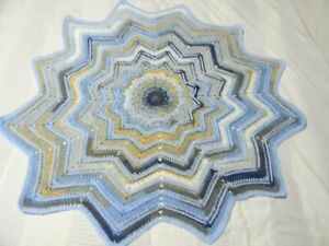 Baby Boy Ripple Star Crochet Blanket Set With Hat and Hand Mittens
