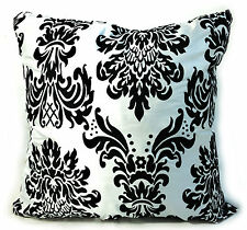 4 große beflockt Damast Kissen + Deckel schwarz weiß gefüllt