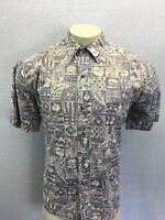 Tori Richard Hawaiian shirt Men's L Hawaii USA Brown 100% Cotton Reverse Print