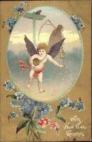 New Year - Cherub & Father Time c1910 Postcard