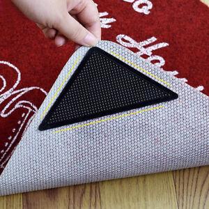 4pcs Rug Grippers Stopper Anti Slip Rubber Corner Mat Washable Carpet Pad