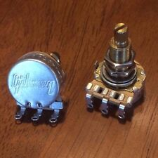 (2) Gibson 300k Long Audio Taper Pots / Potentiometer / MATCHED Set / NOS