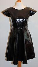 Black pvc vinyl short sleeved mini dress all sizes