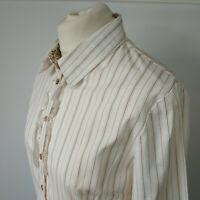 Joe Browns Shirt Blouse White Striped Stretch Cotton Ruffle Career Ladies UK 14