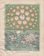1904 Antiguo impresión ~ tiempo de todas las naciones Zona horaria del mundo Londres Asia China