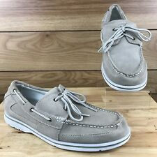 Rockport V73223 Mens Gray Canvas Leather Slip On Moccasin Shoes Sz 12M