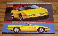 1986 Chevrolet Corvette Indy 500 Pace Car Sales Fact Sheet Brochure 86 Chevy