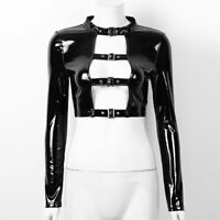 Women Cool Wet Look Leather Shirt Hollow Out Front Crop Top Blouse Party Club